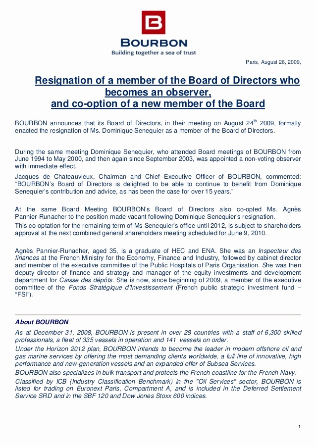 Resignation From Board Of Directors Luxury Press Release Resignation Of A Member Of the Board Of