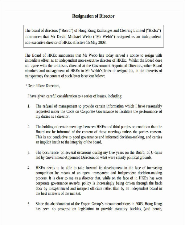 Resignation From Board Of Directors New 7 Board Resignation Letter Samples and Templates – Pdf