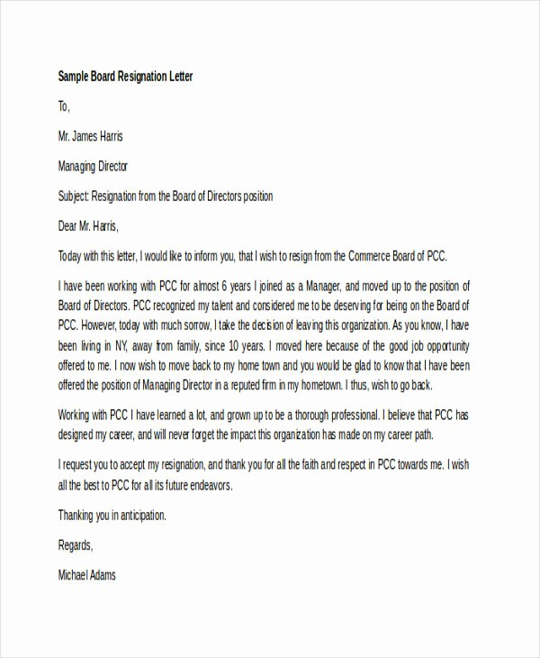 Resignation From Board Of Directors New 7 Board Resignation Letters Free Sample Example format