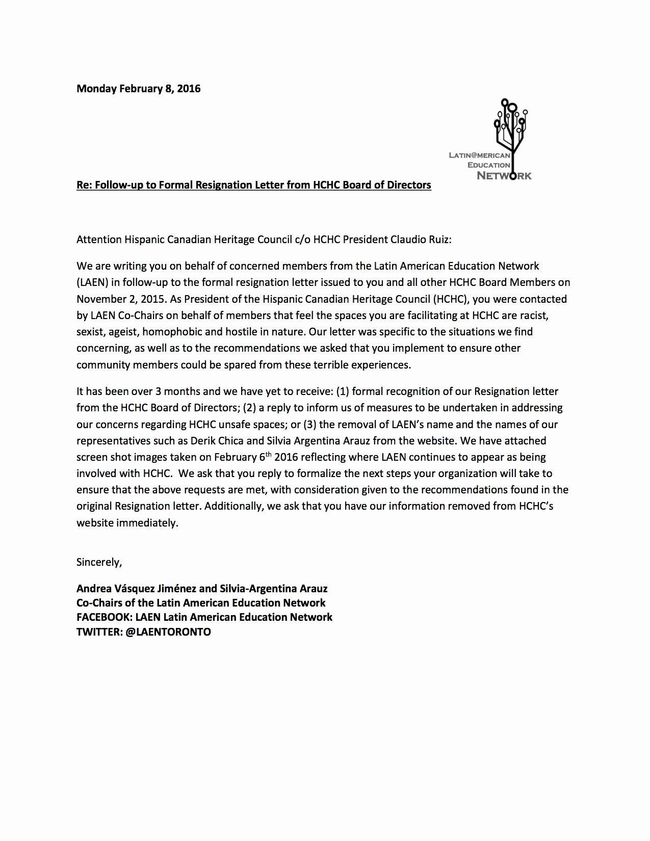 Resignation From Board Of Directors New Follow Up to formal Resignation Letter From Hchc Board Of