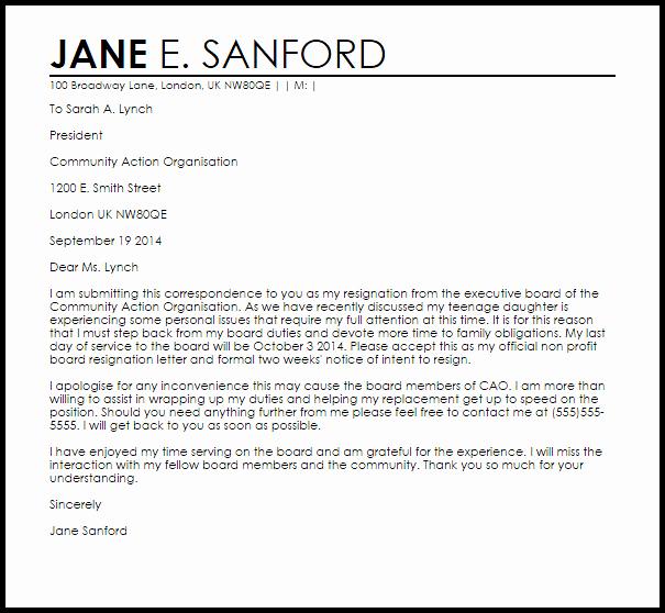 Resignation From Board Of Directors Unique Non Profit Board Resignation Letter Example