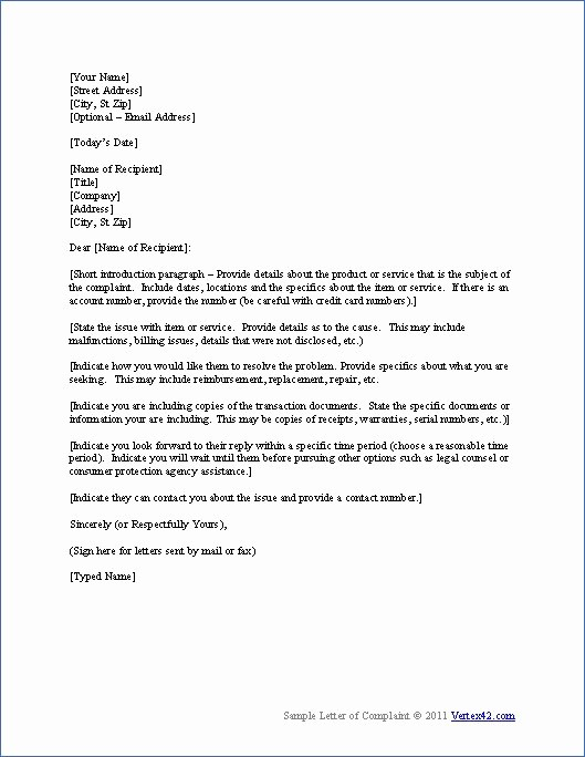 Resignation Letter Due to Harassment Beautiful Download the Plaint Letter Template From Vertex42