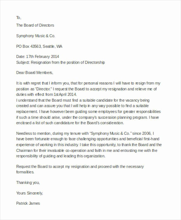 Resignation Letter From Nonprofit Board Awesome 31 Resignation Letter Examples