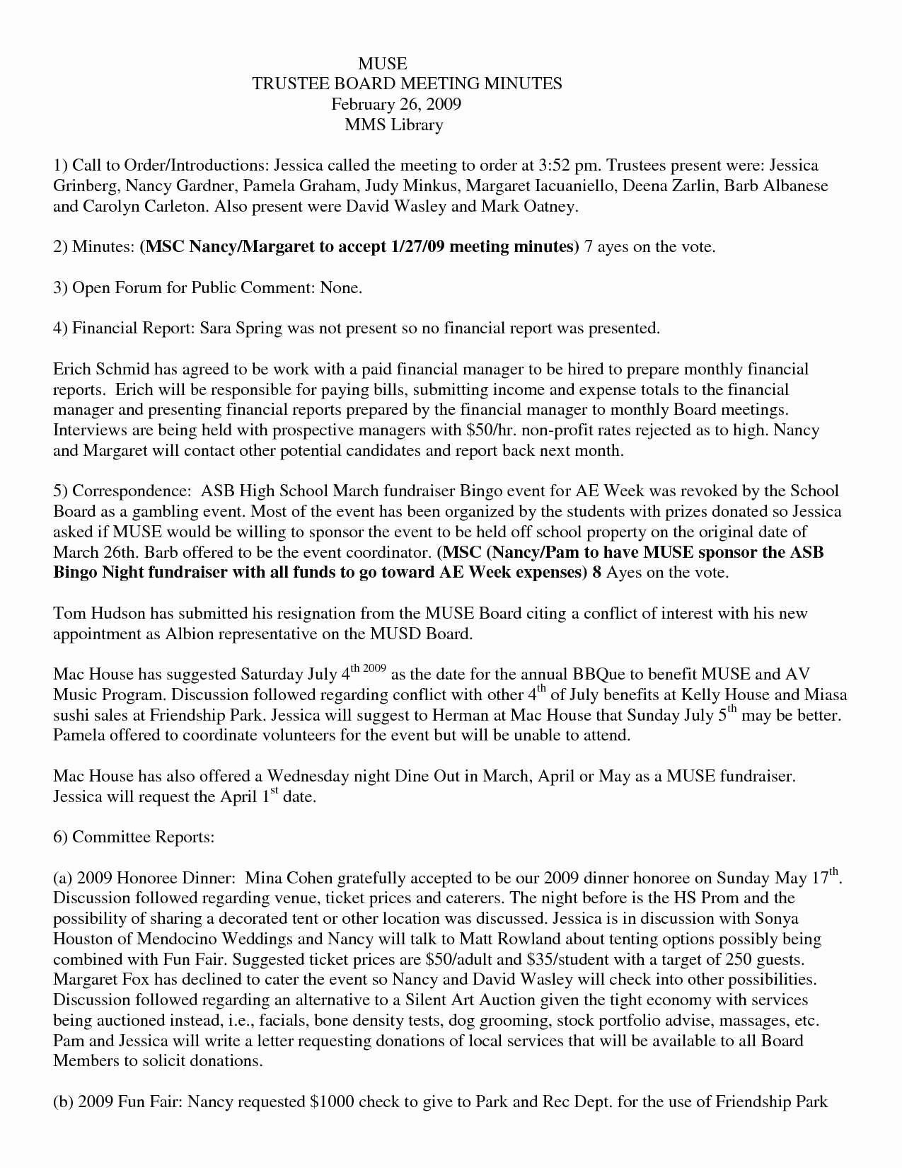 Resignation Letter From Nonprofit Board Awesome Unique Nonprofit Board Meeting Minutes Sample