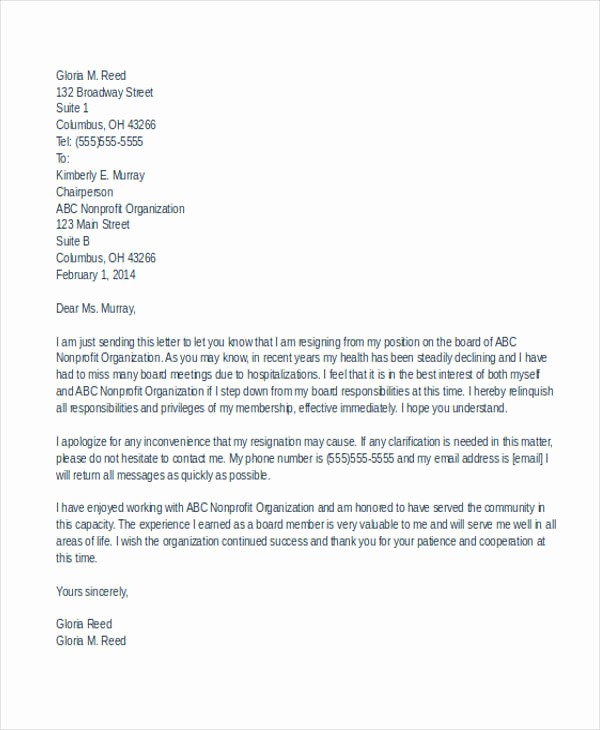 Resignation Letter From Nonprofit Board Beautiful 7 Board Resignation Letters Free Sample Example format