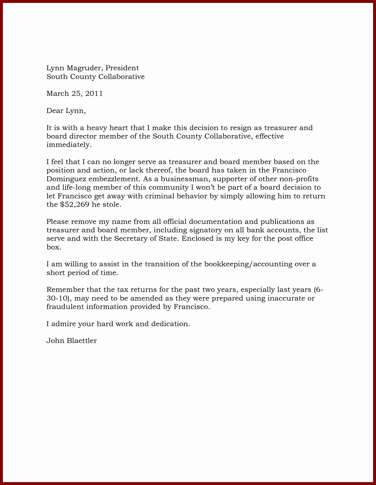 Resignation Letter From Nonprofit Board Best Of Board Member Removal Letter Template Examples