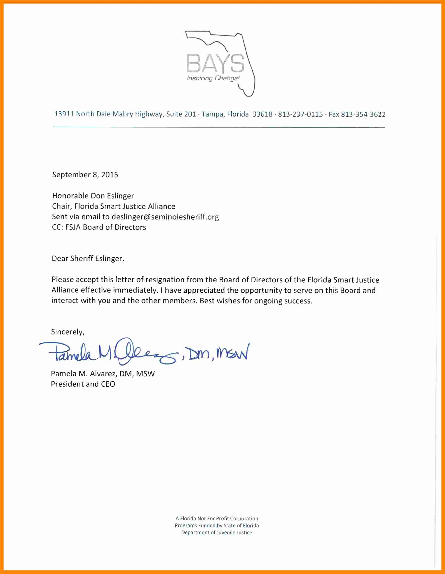 Resignation Letter From Nonprofit Board Elegant 5 Non Profit Board Resignation Letter Sample