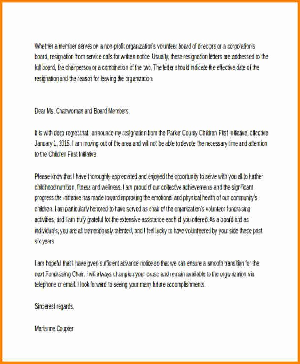 Resignation Letter From Nonprofit Board Elegant 7 Board Resignation Letter Sample Non Profit