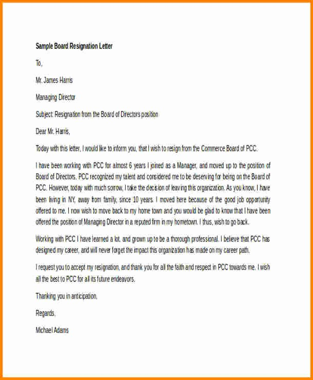 Resignation Letter From Nonprofit Board Fresh 8 Board Member Resignation Letter Template