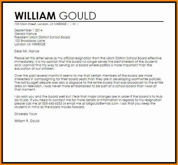 Resignation Letter From Nonprofit Board Inspirational 7 Non Profit Board Resignation Letter