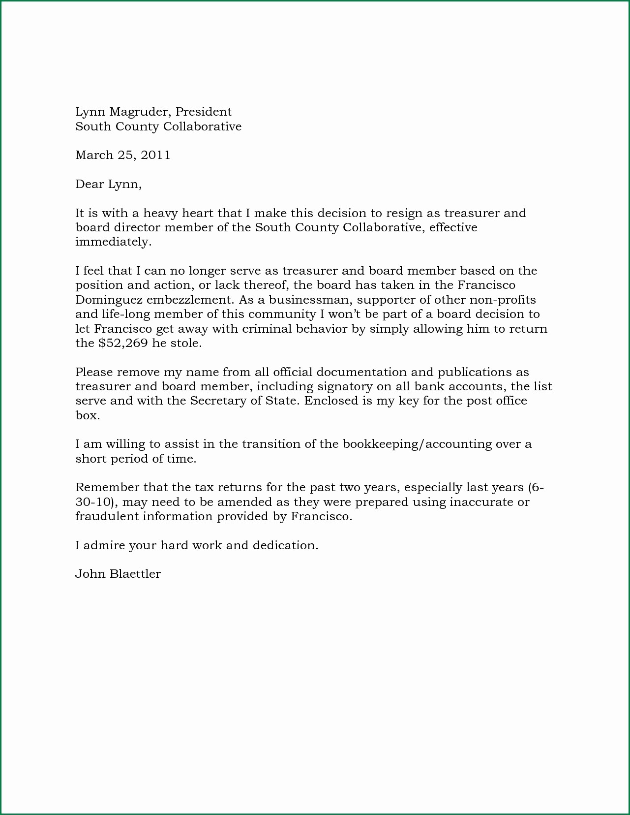 Resignation Letter From Nonprofit Board Inspirational Board Member Resignation Letter Template Samples