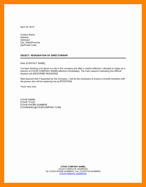Resignation Letter From Nonprofit Board Luxury 5 Board Of Directors Resignation Letter Sample