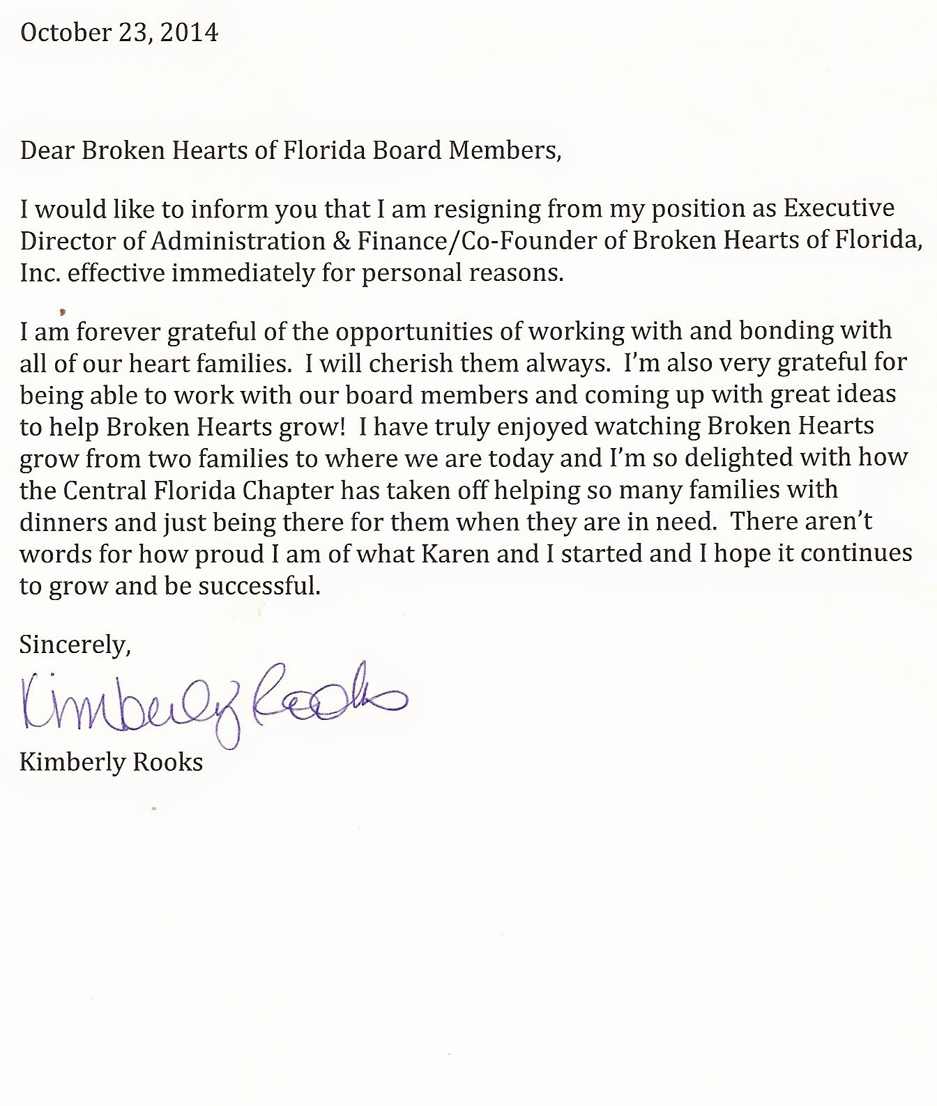 Resignation Letter From Nonprofit Board New Straight From Our Hearts