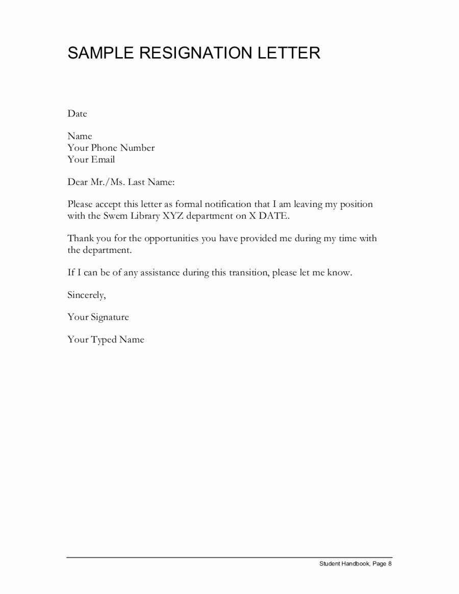 Resignation Letter Template Word Doc Awesome 7 Resignation formats