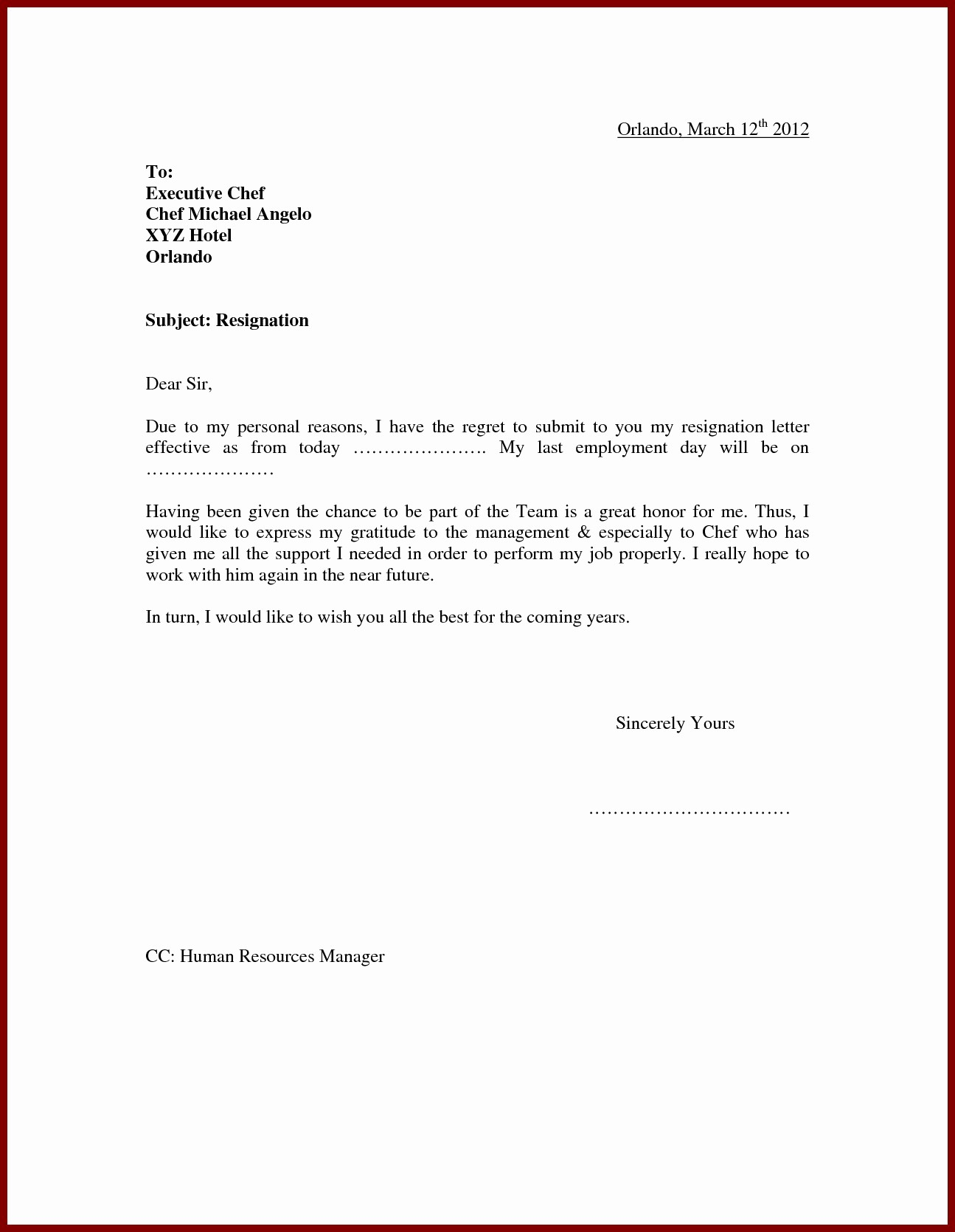 Resignation Letter Template Word Doc Best Of 13 Resign Letter Template Word