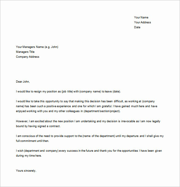 Resignation Letter Template Word Doc Fresh 22 Resignation Letter Examples Pdf Doc