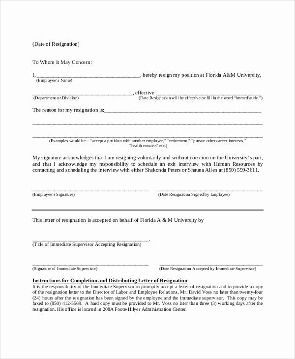 Resignation Letter Template Word Doc Fresh Letter Of Resignation Template 17 Free Word Pdf