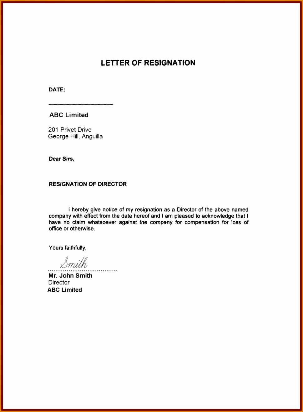 Resignation Letter Template Word Doc Inspirational 19 Sample Resignation Letter