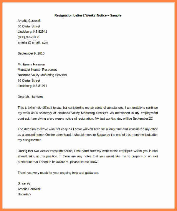 Resignation Letter Template Word Doc Lovely 6 Simple Resignation Letter Weeks Notice