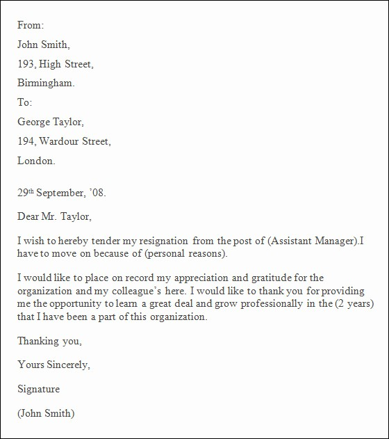 Resignation Letter Template Word Doc Lovely Professional Resignation Letter Sample 4 Documents In