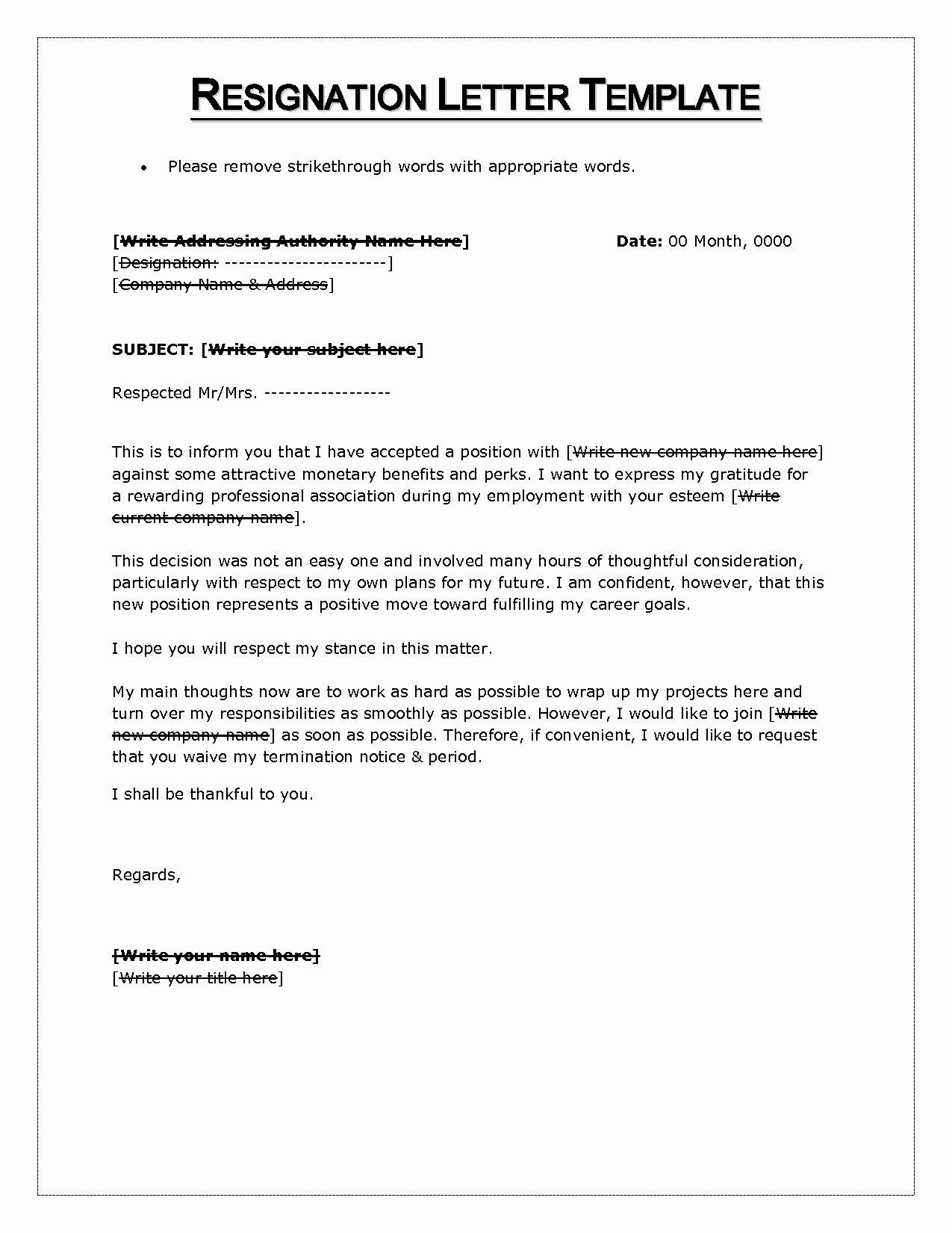 Resignation Letter Template Word Doc Lovely Resignation Letter Sample In Word format