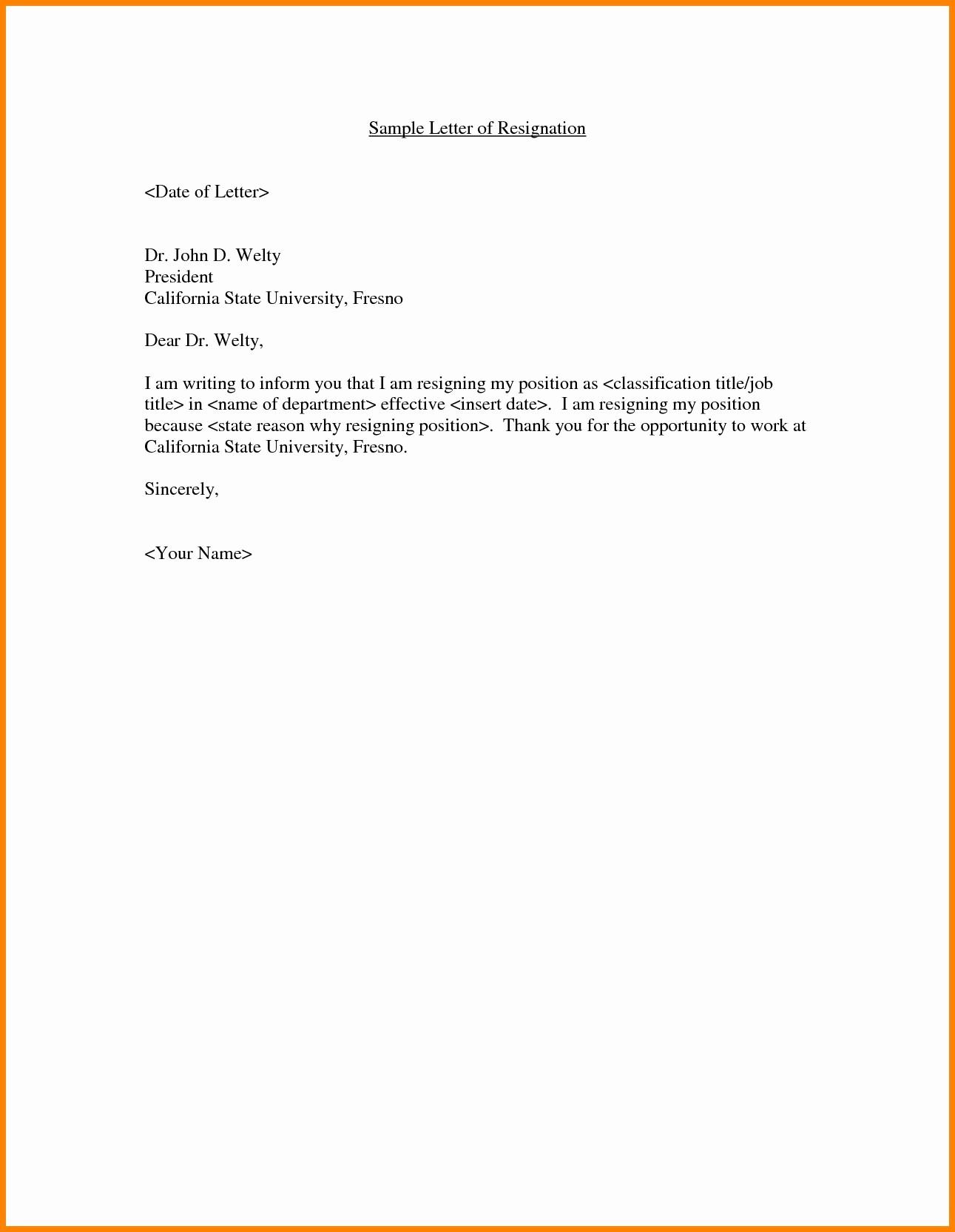 Resignation Letter Template Word Doc Lovely Standard Resignation Letter Template Word Examples