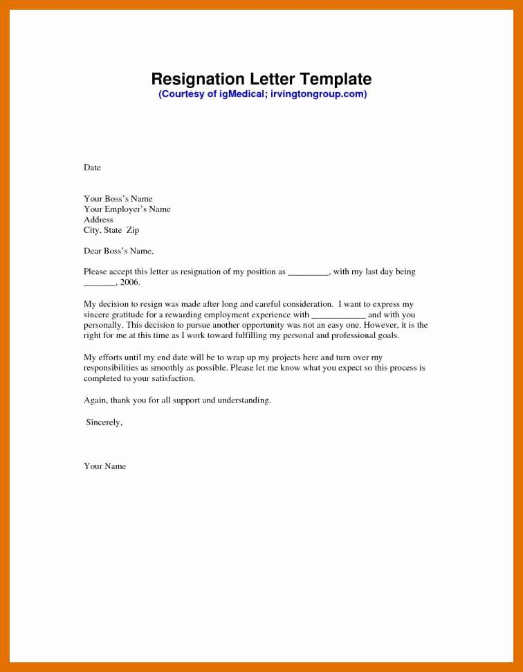 Resignation Letter Template Word Doc New 9 10 Resignation Letter Templates for Word