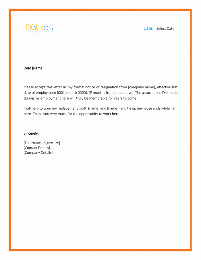 Resignation Letter Template Word Doc New Pics Photos Word Resignation Letter Template Free Sample