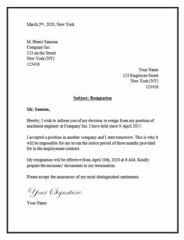 Resignation Letter Template Word Doc New Resignation Letter Template – Resignation Letter