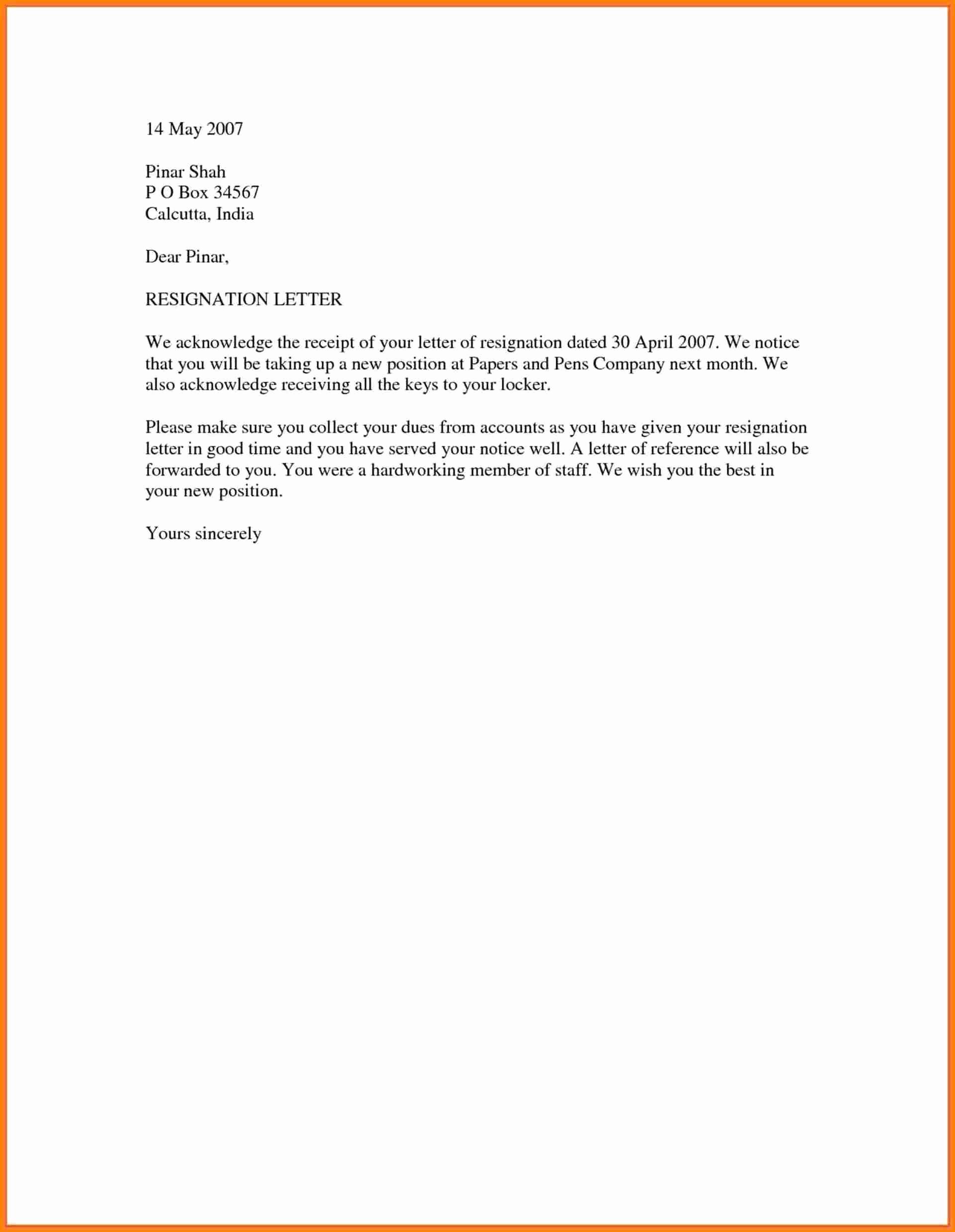 Resignation Letter Template Word Doc Unique 18 Simple Resignation Letter Sample