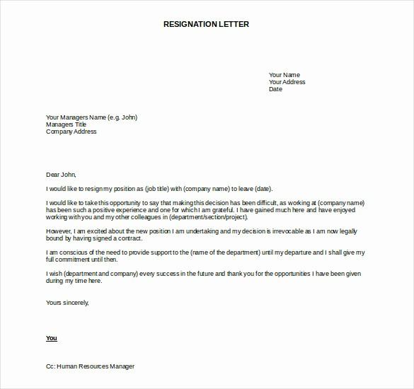 Resignation Letter Template Word Doc Unique 27 Resignation Letter Templates Free Word Excel Pdf