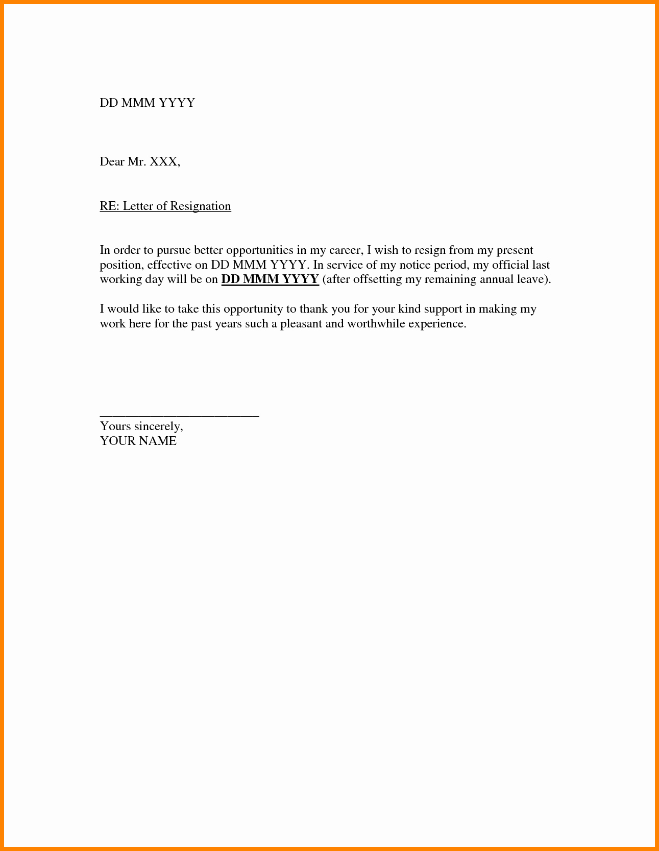 Resignation Letter Template Word Doc Unique Letter Template Doc