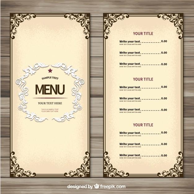 Restaurant Menu Template Free Download Awesome ornamental Menu Template Vector