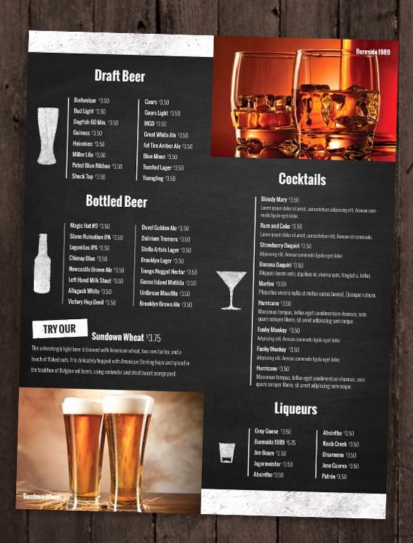 Restaurant Menu Template Free Download Beautiful 24 Bar Menu Templates – Free Sample Example format