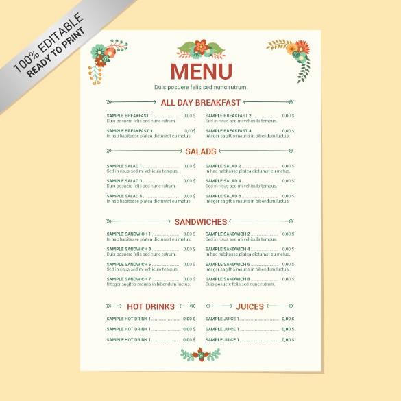 Restaurant Menu Template Free Download Best Of 24 Free Menu Templates Pdf Doc Excel Psd