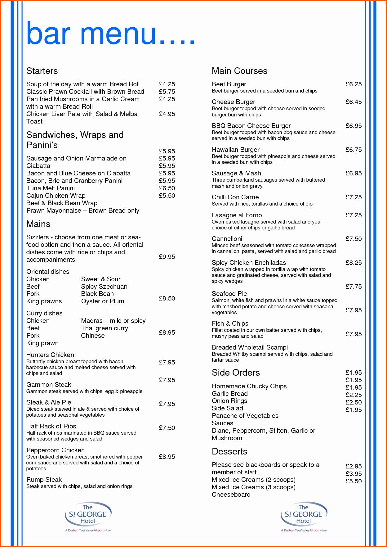 Restaurant Menu Template Free Download Best Of Drinks Menu Template Portablegasgrillweber