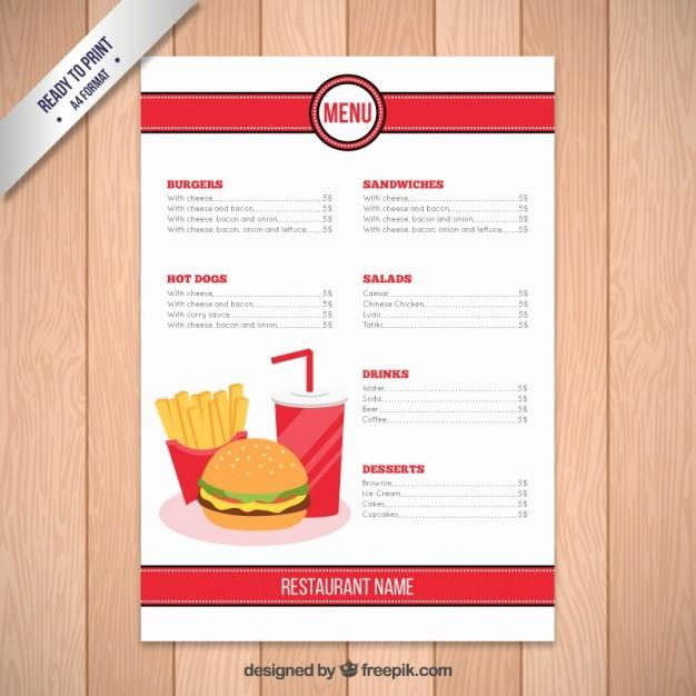 Restaurant Menu Template Free Download Elegant Fast Food Restaurant Menu Template Vector