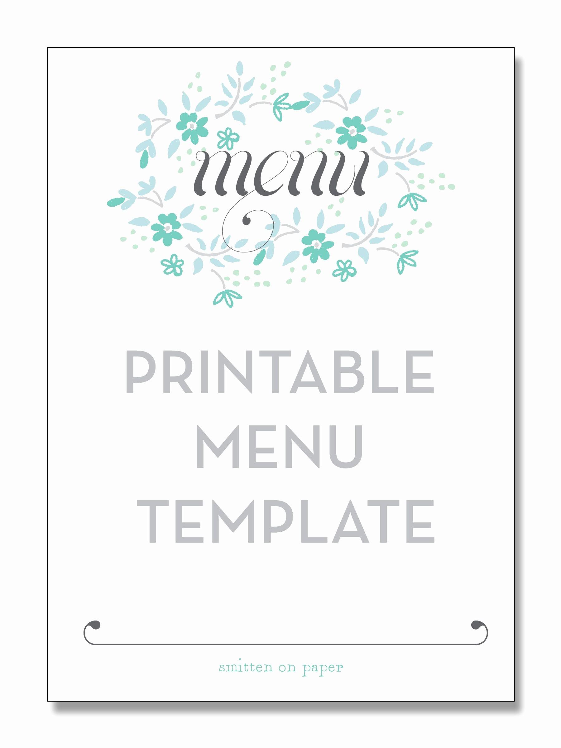 Restaurant Menu Template Free Download Elegant Freebie Friday Printable Menu Party Time