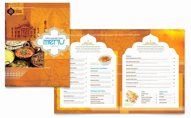 Restaurant Menu Template Free Download Inspirational Indian Restaurant Menu Template Word & Publisher