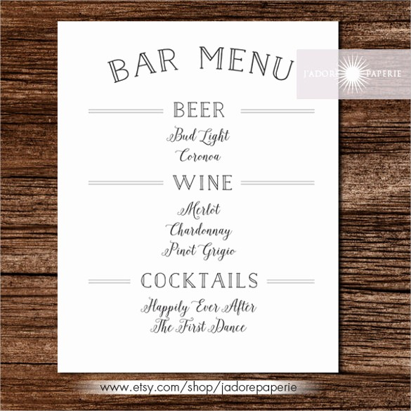 Restaurant Menu Template Free Download Lovely 24 Bar Menu Templates – Free Sample Example format