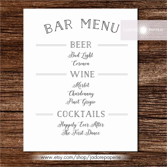 Restaurant Menu Template Free Download Lovely 24 Bar Menu Templates – Free Sample Example format