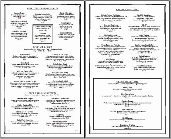 Restaurant Menu Template Free Download Unique Free Restaurant Menu Templates