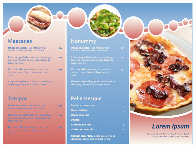 Restaurant Menu Template Microsoft Word Best Of Restaurant Menu Template format Example