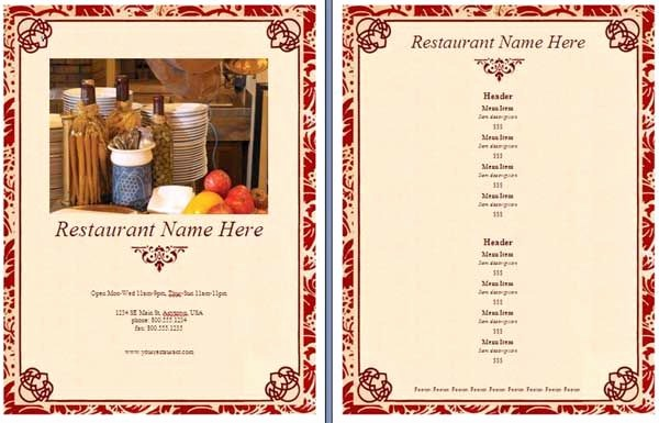 Restaurant Menu Template Microsoft Word Elegant Free Menu Templates