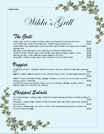 Restaurant Menu Template Microsoft Word Elegant Microsoft Word Restaurant Menu Templates Datooh