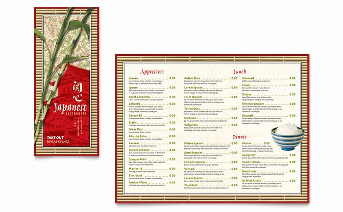 Restaurant Menu Template Microsoft Word Fresh Japanese Restaurant Take Out Brochure Template Design