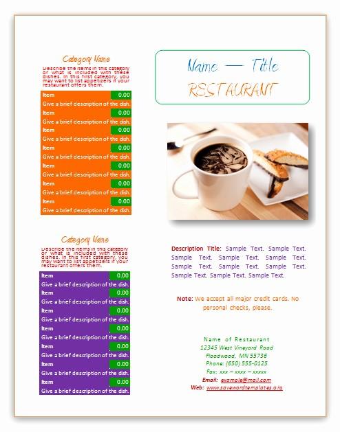 Restaurant Menu Template Microsoft Word Lovely Menu Templates Page 2