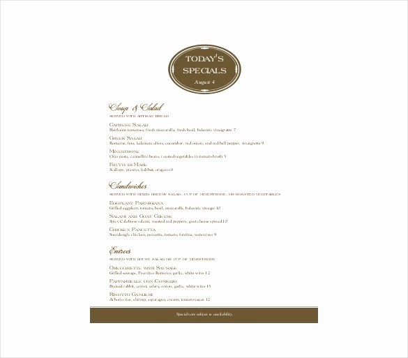 Restaurant Menu Template Microsoft Word New Menu Template Word