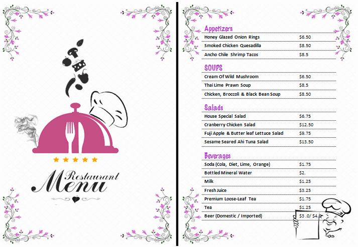 Restaurant Menu Template Microsoft Word New Ms Word Restaurant Menu