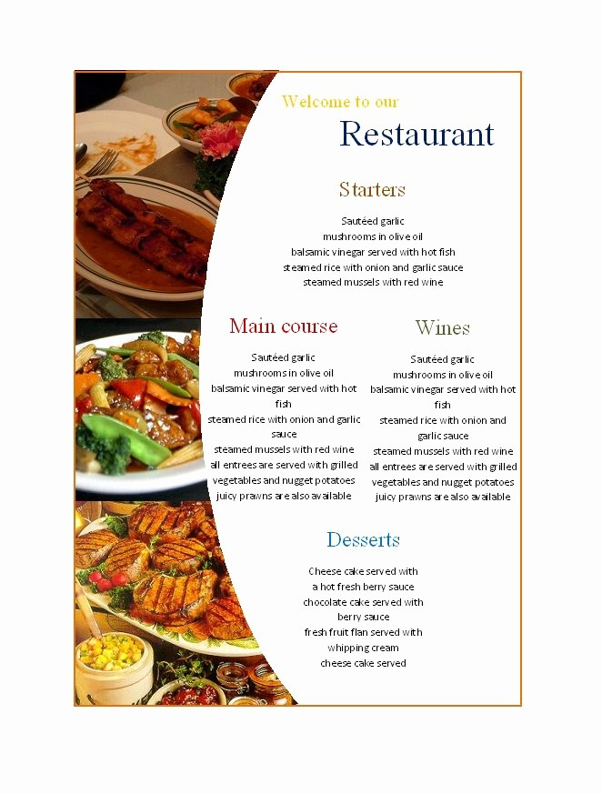 Restaurant Menu Template Microsoft Word Unique 31 Free Restaurant Menu Templates & Designs Free